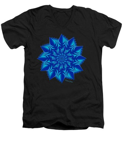 Fractal Flower In Blue Men's V-Neck T-Shirt
