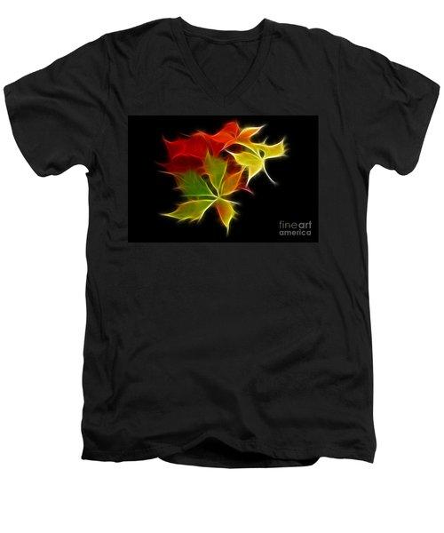 Fractal Leaves Men's V-Neck T-Shirt