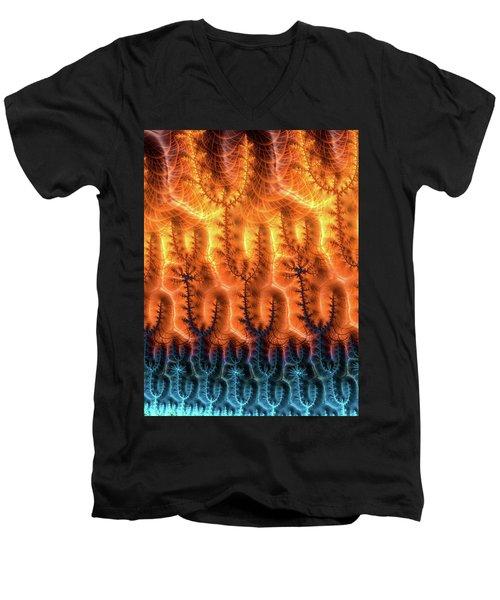 Men's V-Neck T-Shirt featuring the digital art Fractal Pattern Orange Brown Aqua Blue by Matthias Hauser