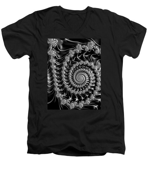 Fractal Spiral Gray Silver Black Steampunk Style Men's V-Neck T-Shirt by Matthias Hauser