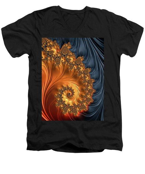 Men's V-Neck T-Shirt featuring the digital art Fractal Spiral Orange Golden Black by Matthias Hauser