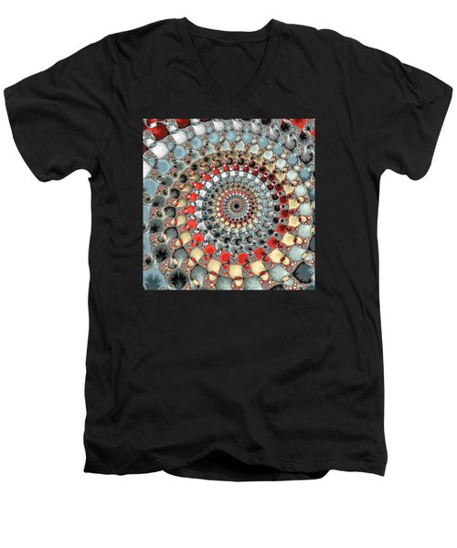 Fractal Spiral Red Grey Light Blue Square Format Men's V-Neck T-Shirt