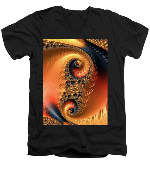 Men's V-Neck T-Shirt featuring the digital art Fractal Spirals With Warm Colors Orange Coral by Matthias Hauser