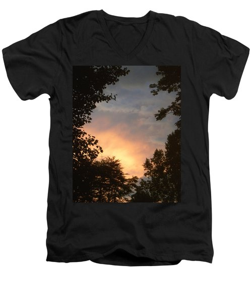 Men's V-Neck T-Shirt featuring the photograph Framed Fire In The Sky by Sandi OReilly