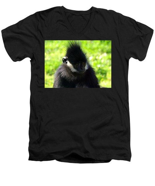 Men's V-Neck T-Shirt featuring the photograph Francois Langur by Lisa L Silva