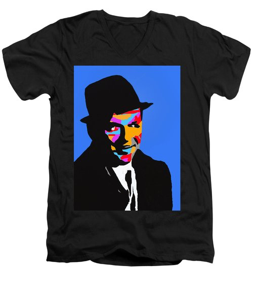 Men's V-Neck T-Shirt featuring the drawing Frank Feeling Blue by Robert Margetts
