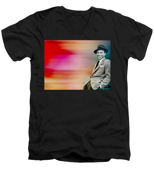 Men's V-Neck T-Shirt featuring the digital art Frank Sinatra by Marvin Blaine