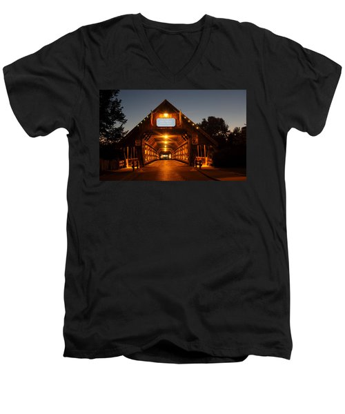 Frankenmuth Covered Bridge Men's V-Neck T-Shirt