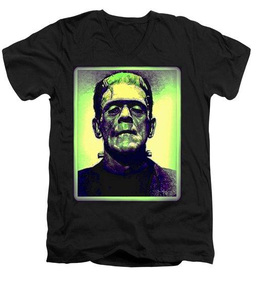 Frankenstein In Color Men's V-Neck T-Shirt
