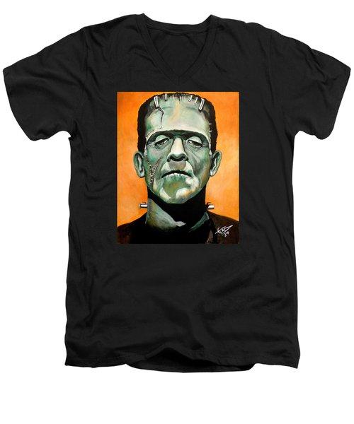 Frankenstein Men's V-Neck T-Shirt by Tom Carlton