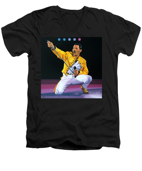 Freddie Mercury Live Men's V-Neck T-Shirt