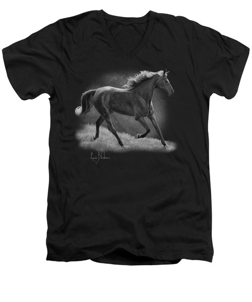 Free - Black And White Men's V-Neck T-Shirt by Lucie Bilodeau