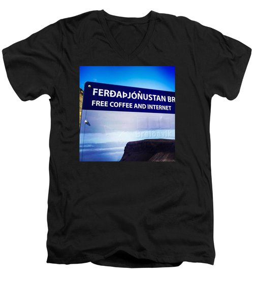 Free Coffee And Internet - Sign In Iceland Men's V-Neck T-Shirt
