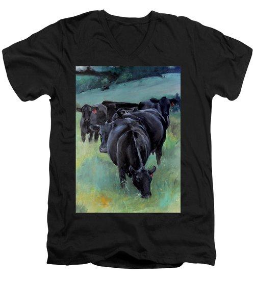 Free Range Cow Girls Men's V-Neck T-Shirt by Michele Carter