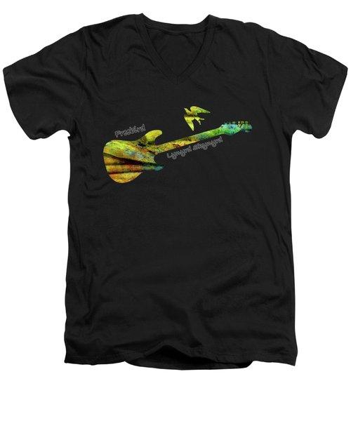 Freebird Lynyrd Skynyrd Ronnie Van Zant Men's V-Neck T-Shirt by David Dehner