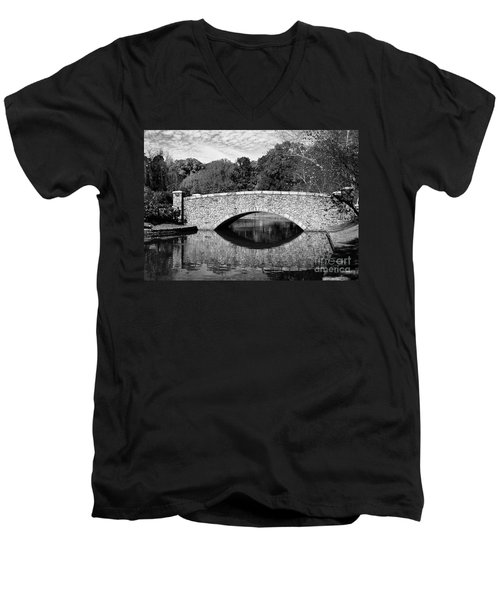 Freedom Park Bridge In Black And White Men's V-Neck T-Shirt