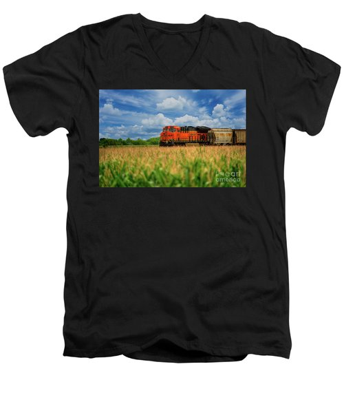 Freight Train Men's V-Neck T-Shirt by Kelly Wade