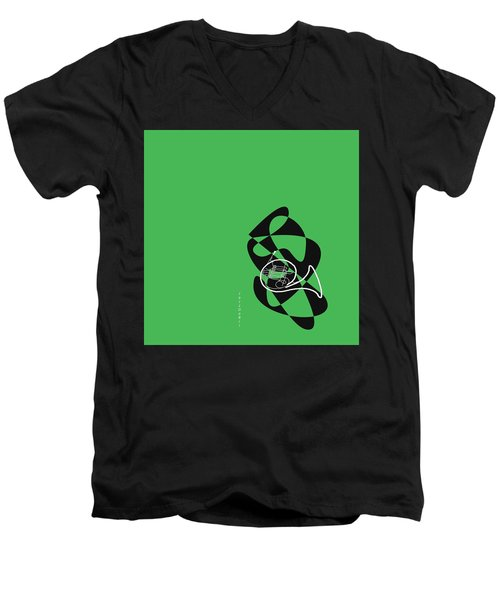 French Horn In Green Men's V-Neck T-Shirt by David Bridburg