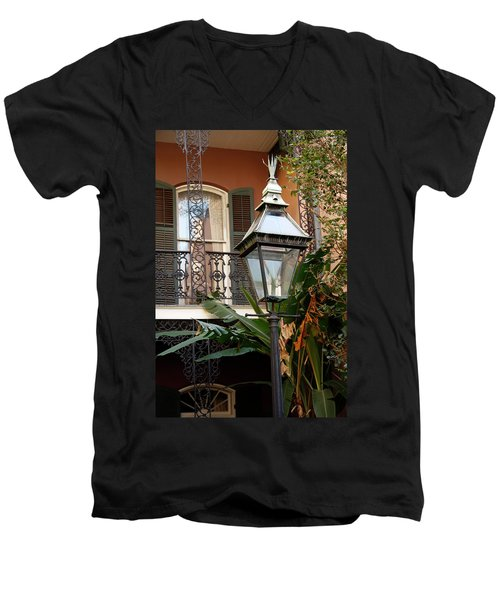Men's V-Neck T-Shirt featuring the photograph French Quarter Courtyard by KG Thienemann