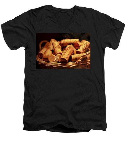 French Wine Bottle Quarks Men's V-Neck T-Shirt