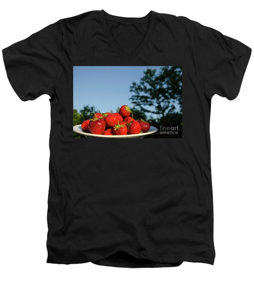 Men's V-Neck T-Shirt featuring the photograph Fresh Strawberriesl by Kennerth and Birgitta Kullman