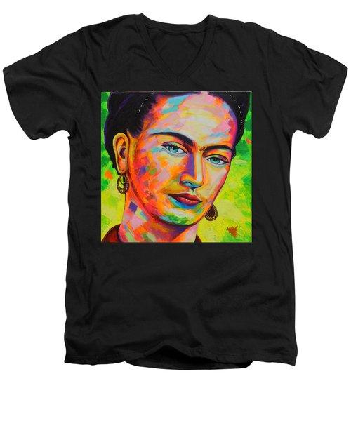 Frida Men's V-Neck T-Shirt by Angel Ortiz