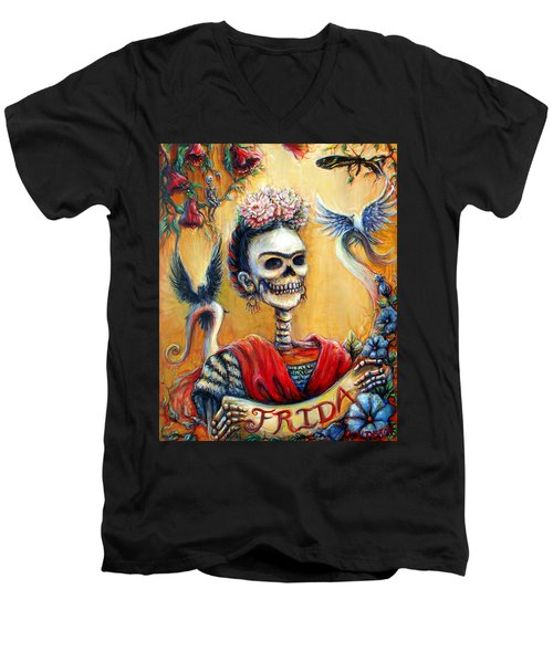 Men's V-Neck T-Shirt featuring the painting Frida by Heather Calderon