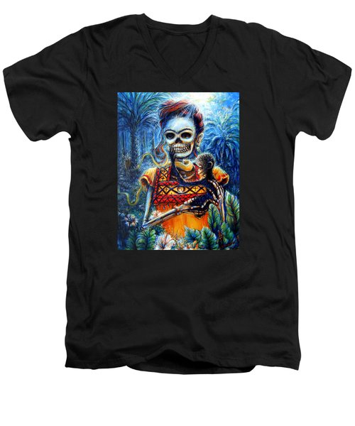 Men's V-Neck T-Shirt featuring the painting Frida In The Moonlight Garden by Heather Calderon