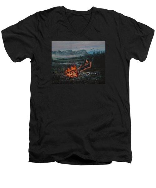 Friendly Fire Men's V-Neck T-Shirt by Michael Wawrzyniec