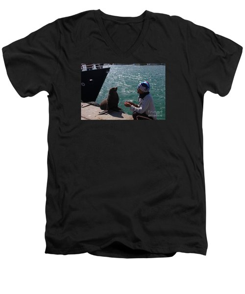 Friendly Seal Men's V-Neck T-Shirt