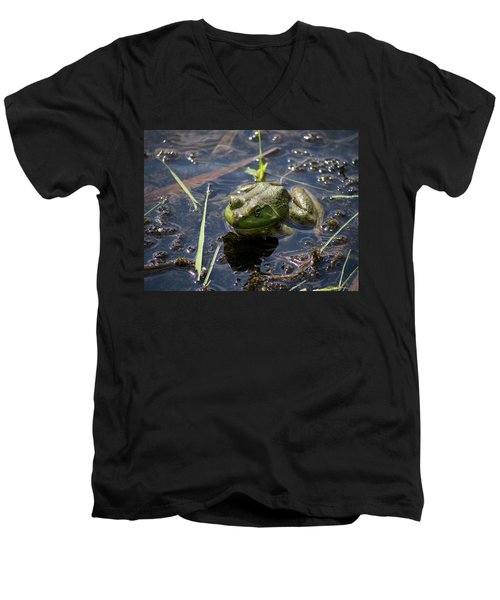 Men's V-Neck T-Shirt featuring the photograph Frog  by Trace Kittrell