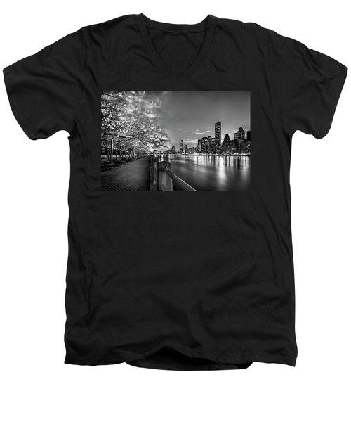 Front Row Roosevelt Island Men's V-Neck T-Shirt by Az Jackson