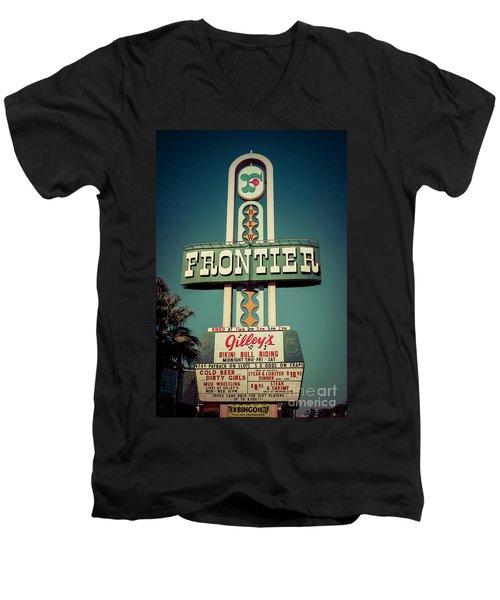 Frontier Hotel Sign, Las Vegas Men's V-Neck T-Shirt