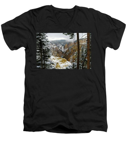 Men's V-Neck T-Shirt featuring the photograph Frosted Canyon by Steve Stuller