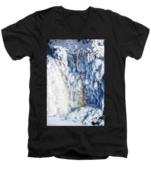 Men's V-Neck T-Shirt featuring the photograph Frozen Waterfall Gullfoss Iceland by Matthias Hauser