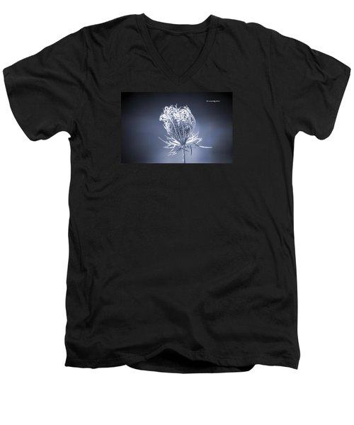 Men's V-Neck T-Shirt featuring the photograph Frozen Wildflower by Stwayne Keubrick