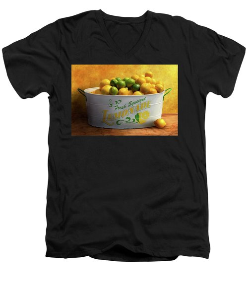 Men's V-Neck T-Shirt featuring the photograph Fruit - Lemons - When Life Gives You Lemons by Mike Savad