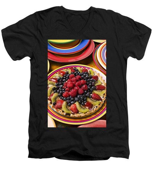 Fruit Tart Pie Men's V-Neck T-Shirt by Garry Gay