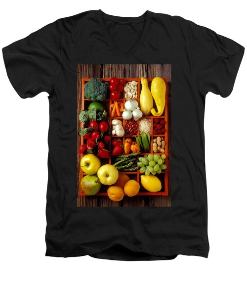 Fruits And Vegetables In Compartments Men's V-Neck T-Shirt by Garry Gay