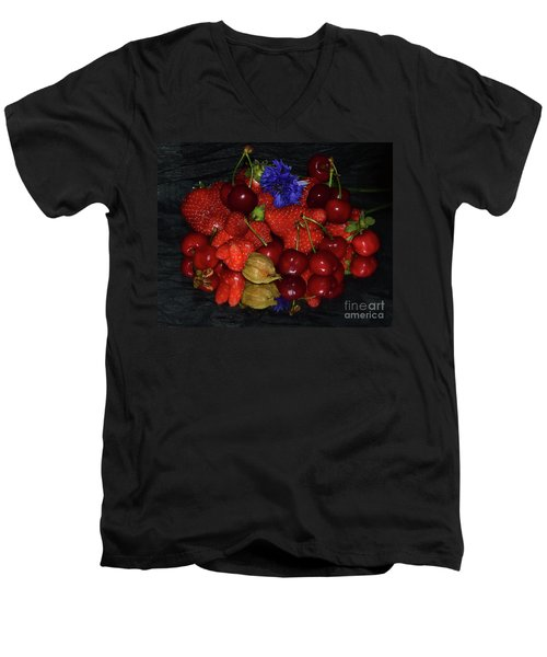 Men's V-Neck T-Shirt featuring the photograph Fruits With Flower by Elvira Ladocki