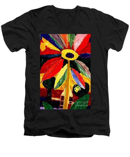 Men's V-Neck T-Shirt featuring the painting Full Bloom - My Home 2 by Angela L Walker