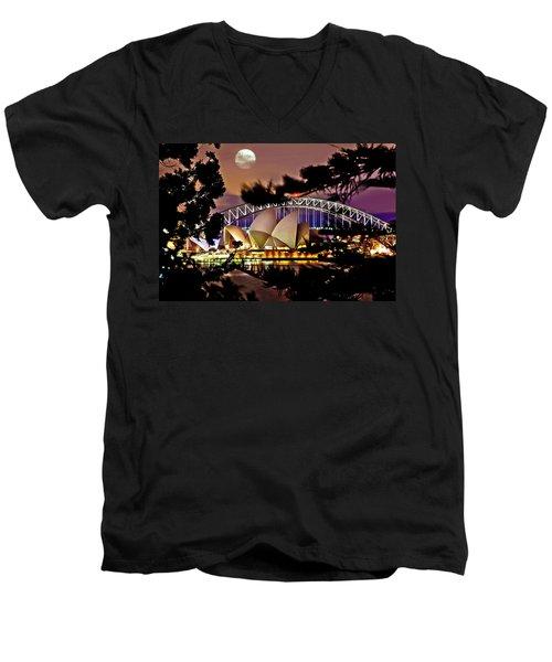 Full Moon Above Men's V-Neck T-Shirt