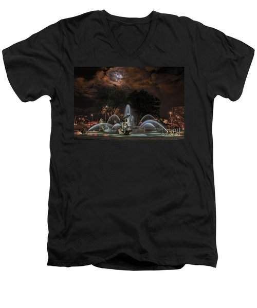Full Moon At The Fountain Men's V-Neck T-Shirt by Lynn Sprowl