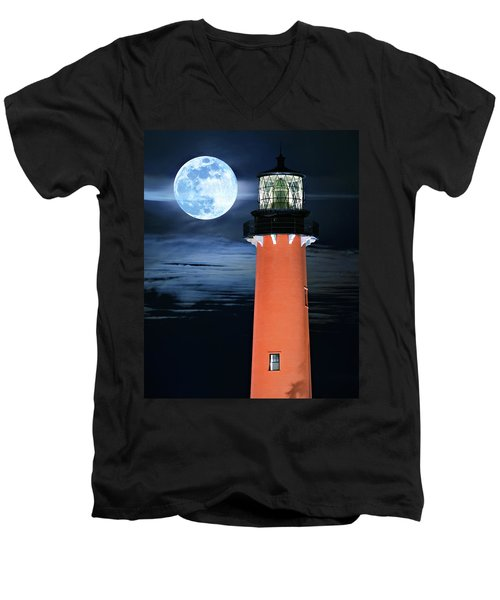Full Moon Closeup Next To Jupiter Lighthouse In Florida Men's V-Neck T-Shirt