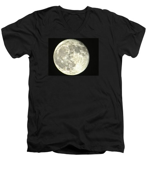 Men's V-Neck T-Shirt featuring the photograph Full Moon Love by Nikki McInnes