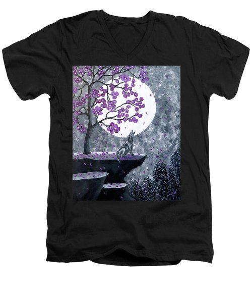 Men's V-Neck T-Shirt featuring the painting Full Moon Magic by Teresa Wing