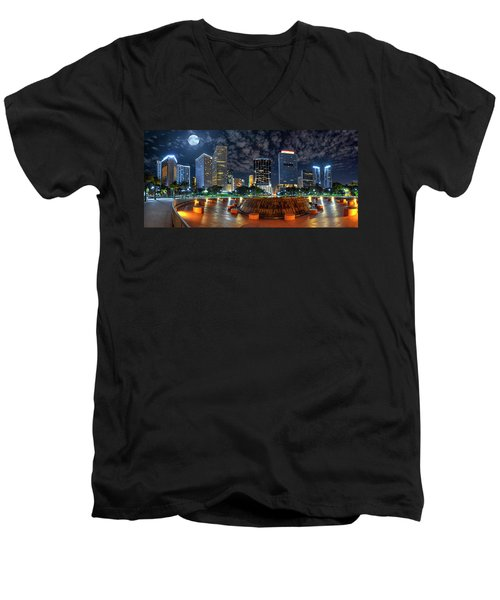 Full Moon Over Bayfront Park In Downtown Miami Men's V-Neck T-Shirt