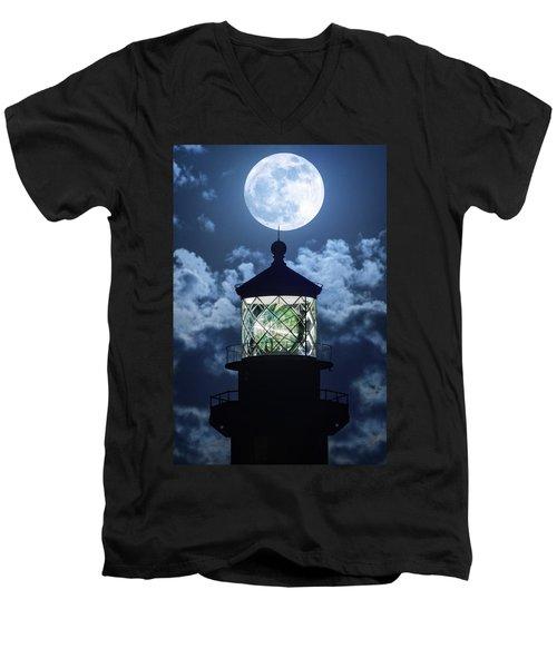 Full Moon Over Hillsboro Lighthouse In Pompano Beach Florida  Men's V-Neck T-Shirt by Justin Kelefas
