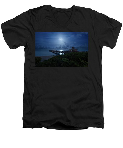 Full Moon Over Juno Beach Pier Men's V-Neck T-Shirt
