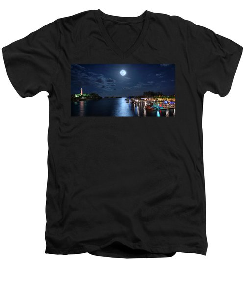 Full Moon Over Jupiter Lighthouse And Inlet In Florida Men's V-Neck T-Shirt